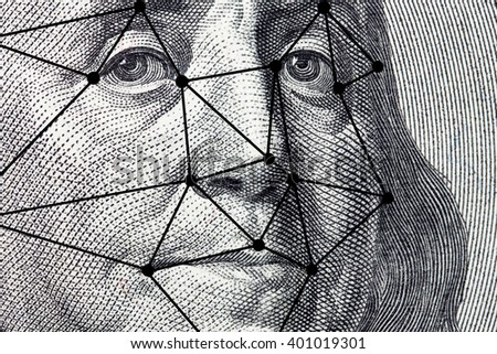 The president's face with a dollar bill with lines from a facial recognition software - stock photo