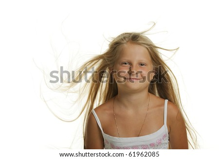 The pretty girl the blonde with flying hair. It is isolated on a white background - stock photo