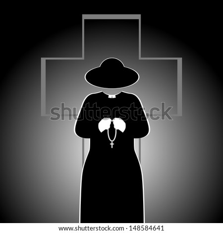 The priest on the background of the cross. Abstract illustration. The illustration on a black background. - stock photo