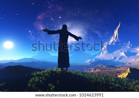 The priest prays in the background of the landscape..3d render