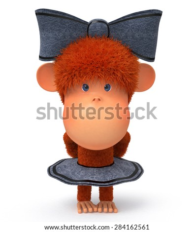 the primate dressed in a skirt and a bow timidly costs and looks/3d little monkey - stock photo