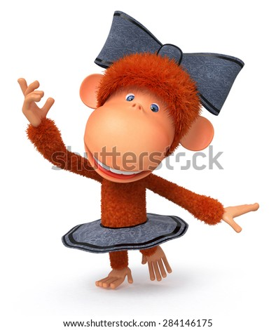 the primate has fun to the sound of music in a skirt and with a bow/the little monkey the ballerina dances - stock photo