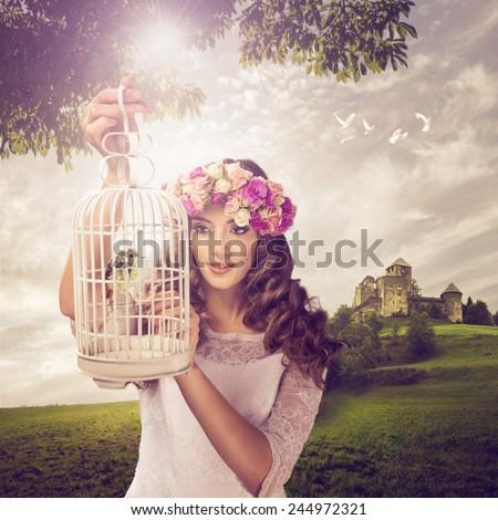 The Princess and the birdie - stock photo