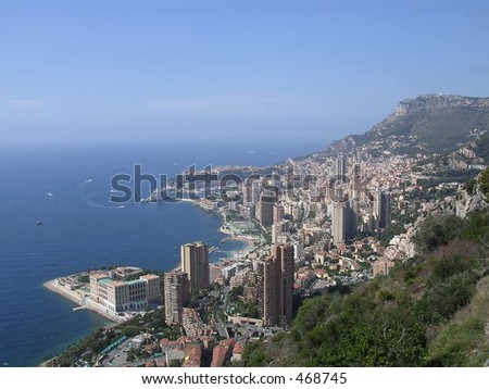 The Principality of Monaco. A view from a nearby mountain.