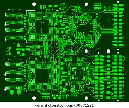 The printed circuit board. Without electronic components - stock photo