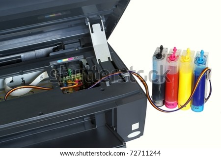 The printer and system of feed of ink - stock photo
