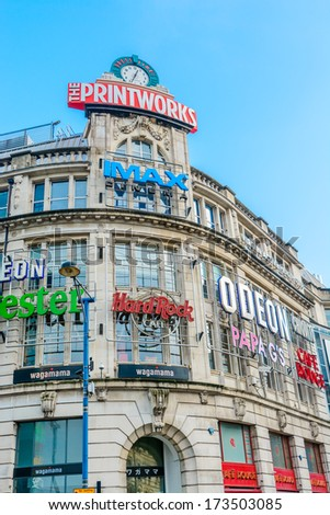The Printworks, manchester, UK - January 27: The popularity of the Printworks in Manchester on January 27th 2013 has spurred on a redevelopment process for the area now know as Exchange Square. - stock photo