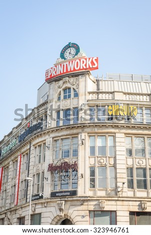The Printworks, manchester, UK - October 4: The popularity of the Printworks in Manchester on October 4th 2015 has spurred on a redevelopment process for the area now know as Exchange Square. - stock photo