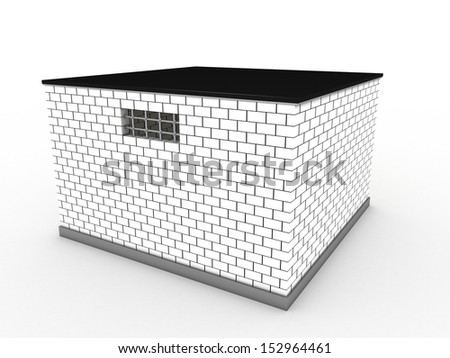The prison of white bricks - stock photo