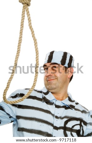 The prisoner and a loop, last smile - stock photo