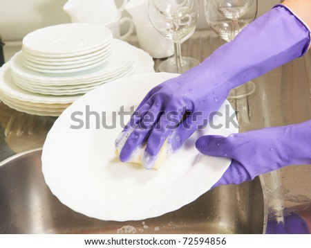 the process of dishwashing - stock photo