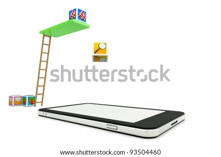 the process of installing a new application on your phone, cellphone as a swimming pool - stock photo