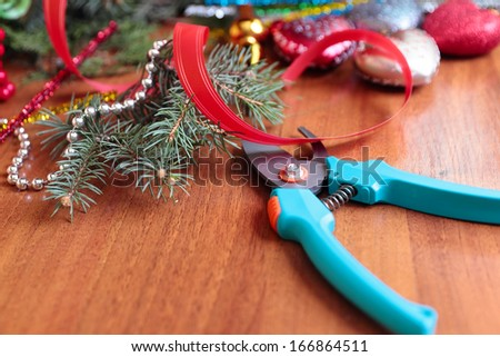 The process of making handicraft christmas wreath - stock photo