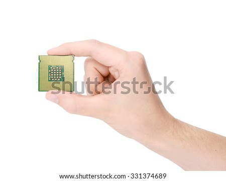 The processor is in male hands on a white background, isolated - stock photo