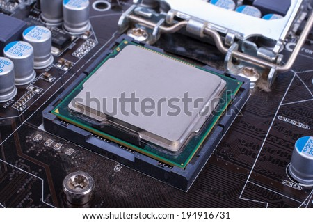 The processor on the motherboard - stock photo