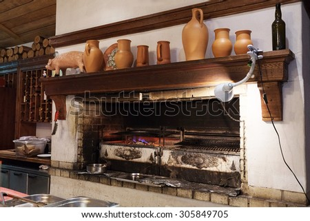 The professional furnace for preparation of a barbecue