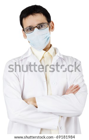 The professional in the field of medicine has skeptically crossed hands - stock photo