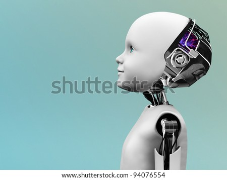 The profile of a child robot gazing into the future. - stock photo