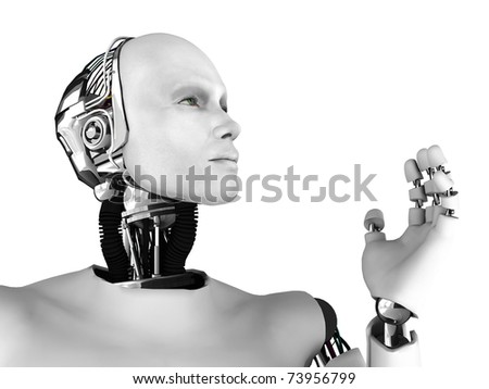 The profile of a male robot gazing into the future. Isolated on white background. - stock photo