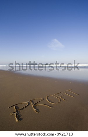 the Profit word writed in the sand - stock photo