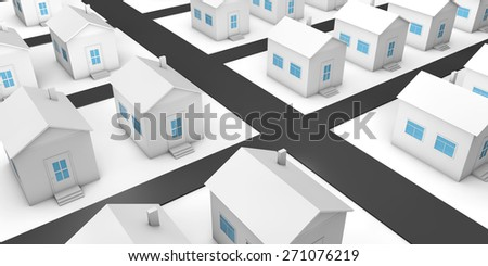 The project of residential area with private houses. 3d - stock photo