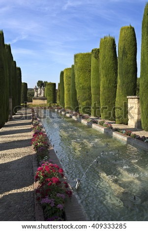 The Promenade of the Kings with its water fountains in the gardens of the Alcazar, in Cordoba, Spain - stock photo