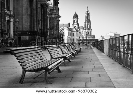 The promenade on waterfront in Dresden - stock photo