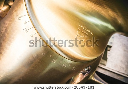 The propeller of a vessel in a factory - stock photo