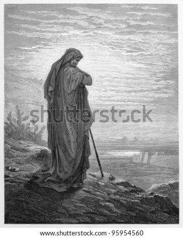 The Prophet Amos -  Picture from The Holy Scriptures, Old and New Testaments books collection published in 1885, Stuttgart-Germany. Drawings by Gustave Dore. - stock photo
