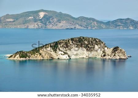 The protected sea park of Laganas and Marathonisi island where the caretta caretta turtle lays its eggs. Zakynthos, Greece. - stock photo