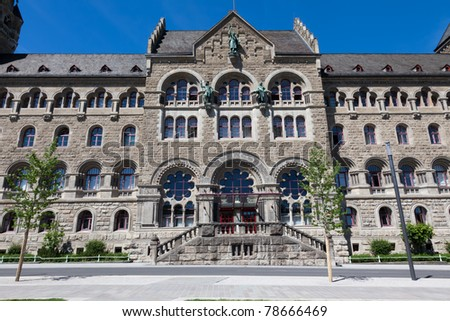 The Prussian Government Building (Preussisches Regierungsgebaeude) in Koblenz, built in 1905 in Romanesque Revival style along the banks of the river Rhine.
