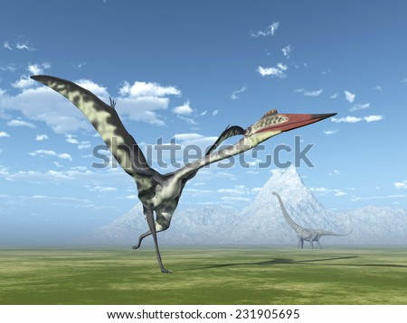 The Pterosaur Quetzalcoatlus and the Dinosaur Mamenchisaurus Computer generated 3D illustration - stock photo