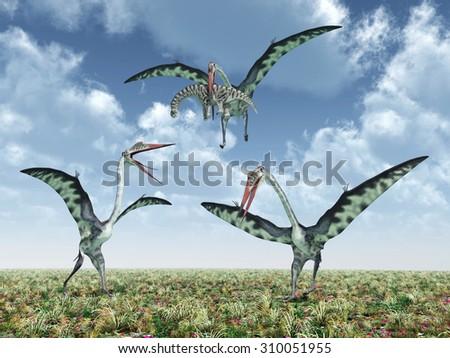 The pterosaur Quetzalcoatlus attacks the dinosaur Camarasaurus Computer generated 3D illustration - stock photo
