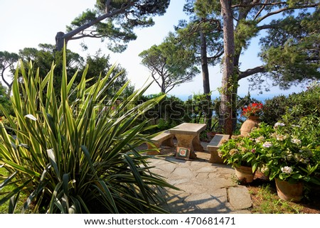 The public gardens of the Villa San Michele, Capri island, Mediterranean Sea, Italy, Europe