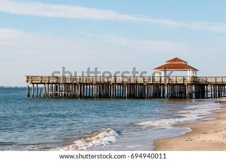 The public viewing pier at Buckroe Beach in Hampton, Virginia allows non-fisherman to enjoy the ocean view or relax in the gazebo.