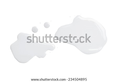 The puddle of an oil paint spill isolated over the white background, top view above - stock photo