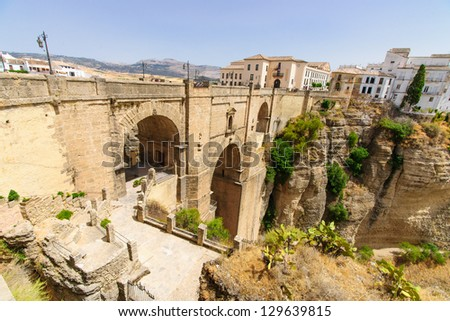 The Puente Nuevo is the newest and largest of three bridges and divides the city of Ronda, in southern Spain.