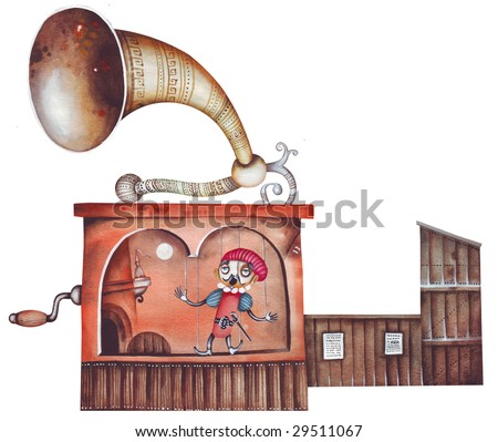 The puppet theater illustration - stock photo
