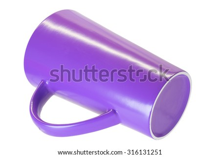 The purple cone cup isolated over white