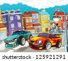 The pursuit, speeding car - illustration for the children - stock photo