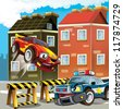 The pursuit, speeding car, road block - illustration for the children - stock photo