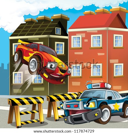 The pursuit, speeding car, road block - illustration for the children