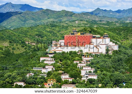 The Putuo Zongcheng Temple complex, completed in 1771 during the reign of the Qianlong Emperor. One of Eight Outer Temples. Located near Chengde Mountain Resort, Chengde City, Heibei Province, China. - stock photo