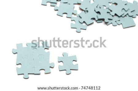 the puzzle pieces on white background - stock photo