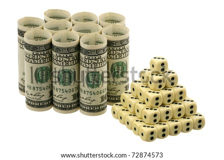 The pyramid and dollars is isolated on a white background - stock photo