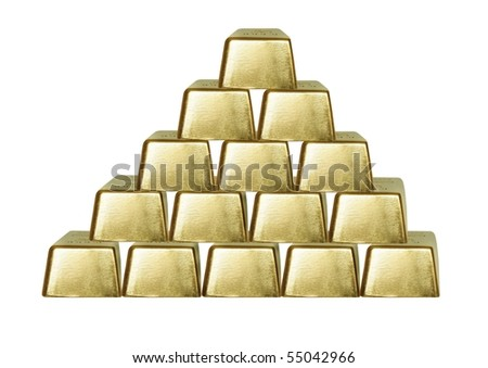 the pyramid from bars of gold on white background - stock photo