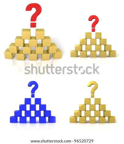 The pyramid of cubes with a question mark, isolated on white - stock photo