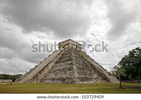 The Pyramid of kukulkan of Chichen Itza in Mexico - stock photo