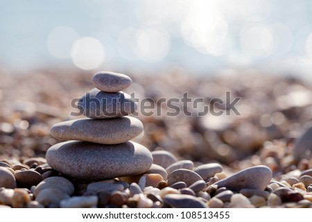 The pyramid of pebbles on the beach