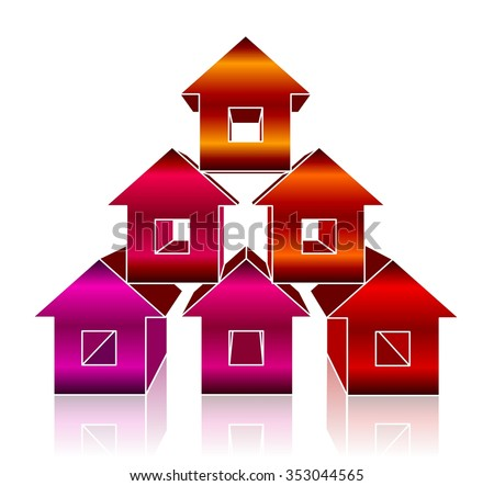 The pyramid of small colorful houses on white background isolated. Construction and repair of buildings and property themes ideas.